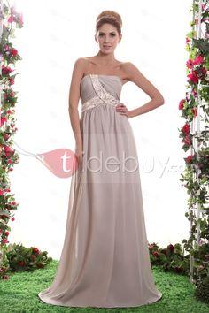 ファッションビーズAラインストラップレス床まで届く長さダーシャ花嫁介添人ドレス