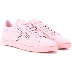 Tod's Suede Sneakers ($510) ❤ liked on Polyvore featuring shoes, sneakers, pink, suede trainers, pink shoes, suede shoes, suede leather shoes and tods shoes