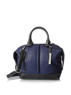 Kenneth Cole Reaction Women's Northern Exposure Crocodile Satchel, Indigo/Pewter, 69.00