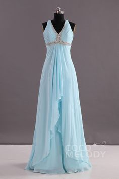 Charming Sheath-Column V-Neck Empire Floor Length Chiffon Sleeveless Criss-Cross Evening Dress Pleating Beading Long Prom Dresses Uk, Unique Bridesmaid Dresses, Chiffon Evening Dresses, Backless Prom Dresses, Gala Dresses, Chiffon Dress, Evening Gowns, Quince Dresses, Prom Gowns