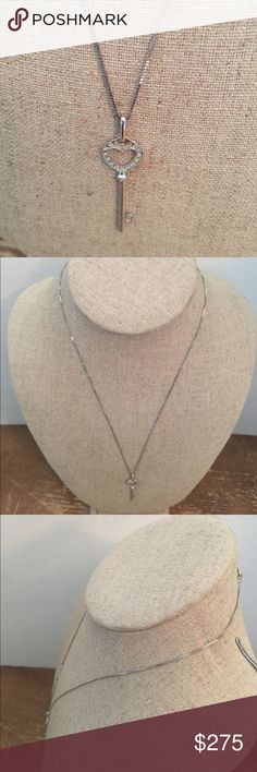 14K Pretty White solid Diamonds Gold  Chain 14K Pretty White solid Diamonds Gold  Chain Jewelry Necklaces