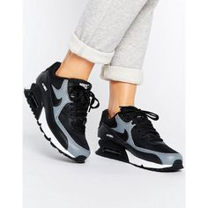 Nike Air Max 90 Trainers In Black (105 AUD) ❤ liked on Polyvore featuring shoes, sneakers, black, nike sneakers, black leather high tops, nike shoes, nike trainers and black hi tops