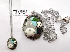 Totoro and No Face cameo necklace Studio Ghibli jewelry by TiViBi, €10.50