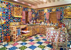 """Liza Lou--installation/performance artist.  She beads and bedazzles entire rooms, including this kitchen.  All the way down to beaded """"water"""" streaming out of the faucet."""