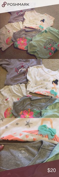 Girls tshirt bundle Size 5 , set of fun cute girls tops Shirts & Tops Tees - Short Sleeve