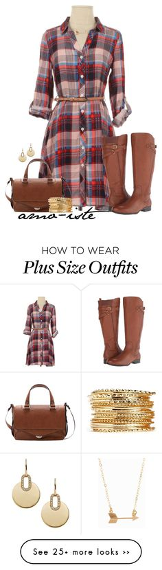 """Plaid dress - plus size"" by amo-iste on Polyvore featuring Naturalizer, Michael Kors and Minnie Grace"