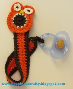 Happiness Crafty: Owl Pacifier Holder ~ Free Crochet Pattern