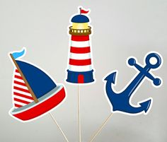 Nautical Centerpieces, Nautical Centerpiece Sticks, Lighthouse Sailboat Anchor Centerpieces, Nautical Baby Shower, Nautical Birthday by CraftyCue on Etsy Nautical Banner, Nautical Favors, Nautical Nursery Decor, Nautical Gifts, Nautical Party, Nautical Bags, Nautical Cupcake, Anchor Centerpiece, Centerpieces