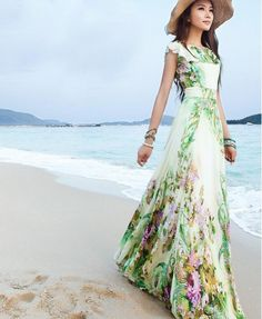 2017 summer elegant slim women's chiffon full dress expansion bottom double layer ruffle maxi dress bohemia long beach dress-in Dresses from Women's Clothing & Accessories on Aliexpress.com | Alibaba Group