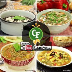 4 sopas para deleitar tu paladar.  Que no se te acaben las ideas, checa estas 4 recetas de sopas para planear el menú de esta semana.