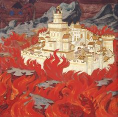 Nicholas Roerich, Fairest City, the Anger for Enemies 1914 St Anastasia, 20th Century Painters, Nicholas Roerich, Museum Displays, Art Database, Fire Emblem, Great Artists, Les Oeuvres, Painting & Drawing