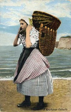A Newhaven Fishwife, with sea cliffs in the background - A Valentine postcard in colour. people working with basket. and Basket basket Historical Clothing, Historical Photos, Sea Cliff, Newhaven, Art Model, Women In History, Costumes, Costume Ideas, Vintage Photography