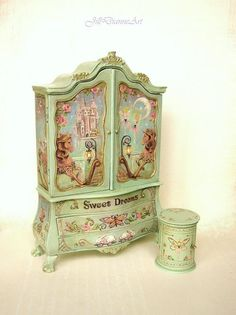 Regular price $1100 ... Payment plan with down payment. HI - Coupons not valid with this already discounted piece.  Finding Fairies Cupboard (first two photos) Hand-painting/ original Jill Dianne Art on wooden cupboard. Mossy sage green base.  For pricing on other cupboards...message me  Original, hand-painted fairy tale art on a miniature cupboard Made to order. Please allow approx. 12 weeks for delivery from purchase or final payment.   Ships worldwide.  www.jilldianneart.com  Thanks for…