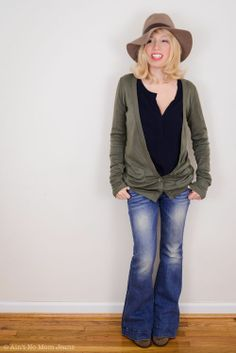 Boyfriend cardigan over Henley and flairs