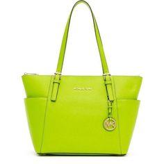 MICHAEL Michael Kors Green Jet Set Saffiano Topzip Tote Bag ❤ liked on Polyvore featuring bags, handbags, tote bags, handbags tote bags, tote bag purse, green handbag, green tote purse and yellow tote handbag