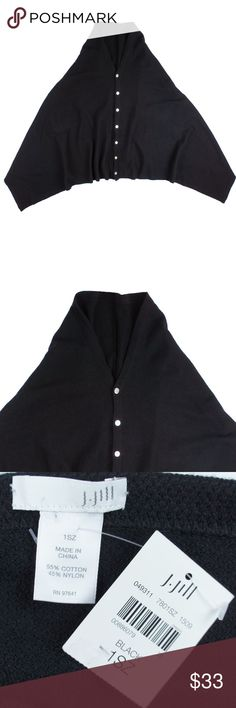 """J. Jill Black Button Front Poncho Sweater Size -  One Size  This new black lightweight poncho sweater from J.JILL features button closures, draped over the arms (no arm holes) and is lightweight. Made of a cotton blend.   Measures:  Total Length: 27"""" J. Jill Sweaters Shrugs & Ponchos"""