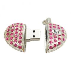 2GB Pink Crystal Heart USB Flash Drive $12.39