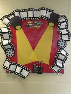 Hollywood graduation theme bulletin board. I just need to add photos of the graduates.