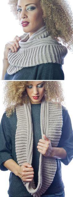 Free Knitting Pattern for 2 Row Repeat Two Ribs Infinity Scarf - Reversible cowlknit in acombination of 2 row repeat fisherman's rib and 2 row repeat welting. Designed by Susan Lawrence. Aran weight yarn.