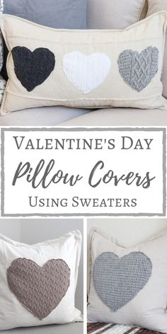DIY Valentine's Day Pillow Covers Using Sweaters Simply Beautiful By Angela Diy Valentine's Pillows, Diy Pillow Covers, Sewing Pillows, How To Make Pillows, Decorative Pillow Covers, Throw Pillows, Pillow Crafts, Cushions, Cushion Covers
