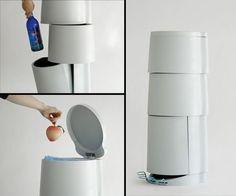 Space saving recycling bin