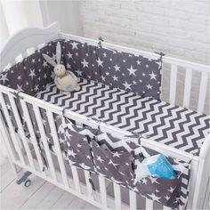 Grey Star Bedding Set, Multi-functional Baby  Bumpers Set, Hanging Storage Bag
