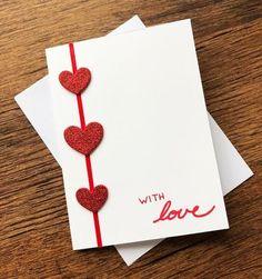 Valentine's Day Hearts Card / Handmade Wedding Cards / Blank Greeting Card / Note Card - Valentine's Days / Valentinstag Valentines Day Hearts, Valentine Crafts, Valentine Day Cards, Homemade Valentines Day Cards, Wedding Cards Handmade, Handmade Birthday Cards, Heart Cards, Valentine's Day Diy, Paper Cards