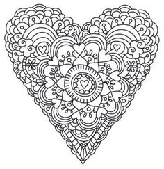 Free Hand Embroidery Pattern: Daydream Love - I Sew Free - Mandala Heart Hand Embroidery Patterns, Zentangle Patterns, Cross Stitch Embroidery, Zentangles, Embroidery Designs, Sewing Patterns, Coloring Book Pages, Printable Coloring Pages, Notebook Doodles