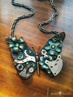 Steampunk+Butterfly+Necklace++Absinthe+Mysterium++by+bionicunicorn,+$110.00
