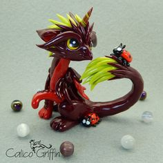 Cherry - crimson red griffin - clay sculpture - Premo Sculpey polymer figurine sculpture dragon gryphon green claygriffin polymergryphon