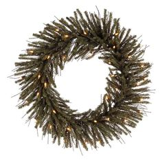 Vickerman 24 in. Vienna Twig Pre-Lit Wreath with 35 Warm White Lights - B167725LED