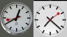 iOS 6でiPadにもやっと時計アプリ(右)が来た...と思ったら、あのステーション・クロック(左)そっくり! スイスはカンカンです!スイ...