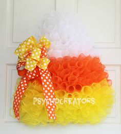 Items similar to Candy Corn Shaped Wreath, Curly Deco Mesh Wreath, Spiral Orange Yellow White Halloween Door Hanging, Fall Thanksgiving Decor on Etsy Cute Halloween Decorations, Halloween Deco Mesh, Halloween Crafts, Halloween Wreaths, Halloween Candy, Wreath Crafts, Diy Wreath, Wreath Ideas, Fall Decor Signs
