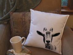 funny goat head  throw pillow cover custom throw by Twirlocity, $14.99