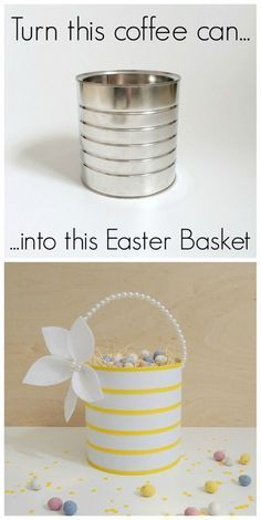 Upcycled Easter Basket – turn a coffee can into this! – northstory + co Upcycled Osterkorb! Weitere großartige Upcycling-Ideen und Recycling-Tipps finden Sie unter www. Easy Diy Crafts, Craft Stick Crafts, Diy Craft Projects, Creative Crafts, Craft Ideas, Spring Crafts, Holiday Crafts, Holiday Fun, Diy Ostern
