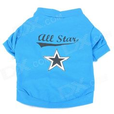 Five-Pointed Star Pattern Pet's Dog Cotton T-Shirt - Black + Blue (Size S) - US$ 3.91 - 03/03/2014 - deal-dx