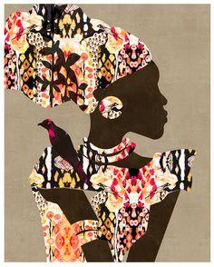 """Adaeze on Taupe"" art print by COZAMIA  #art, #decor, #cozamia"