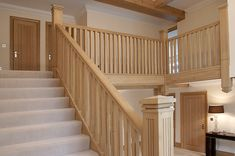 Orlestone Oak are a leading manufacturer and supplier of oak timber in the South East Oak Stairs, Wooden Stairs, Stair Paneling, Kim House, Hallway Designs, Hallway Ideas, Stair Railing Design, Cedar Homes, Wooden Staircases
