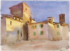 John Singer Sargent - Borgo San Lorenzo, ca. 1910, Watercolor and graphite on white wove paper, 9 5/8 x 13 1/16 in. (24.4 x 33.2 cm).