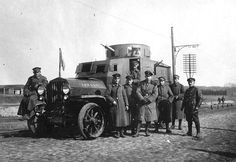 German officers with an armored car, Ukraine, Spring of 1918. (Southern Methodist University, Central University Libraries, DeGolyer Library)