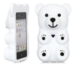 if i still had an iphone this would so be mine!    3D White Polar Bear Cute...