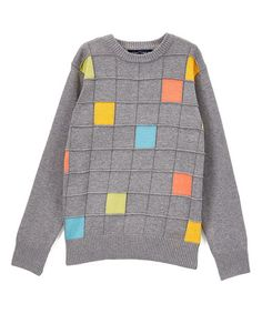 Another great find on #zulily! Gray Color Block Squares Sweater - Toddler & Boys #zulilyfinds