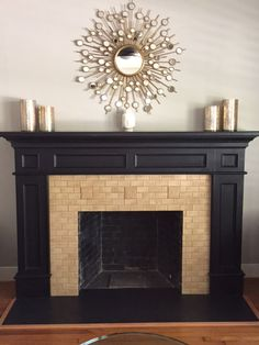 """Lone Star Chic Fireplace Sharp contrast of the Oatmeal 2x4 field with 4"""" x 4"""" Medieval Floral tiles with a beautiful dark stained mantel make the tiles even more eye catching. The three Medieval Floral tiles balance the fireplace."""