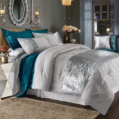 Stunning comforter set features a sparkling band of sequins. Set includes comforter, 2 standard shams 2 king-s. Rose Comforter, Comforter Sets, Sequin Bedding, Bedroom Themes, Bedroom Decor, Home Bedroom, Master Bedroom, Black And Silver Bedroom, King Size Comforters