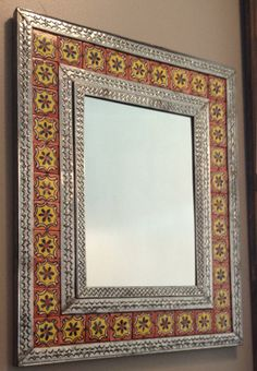 Mexican Tiled Mirror with Metal Detailed Frame by TheWoodShopLA, $65.00