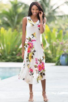 Georgette Drape Neck Dress: Classic Women's Clothing from #ChadwicksofBoston $29.99