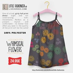 #whimsical #flowers #floral #colorful #garden #painted #watercolor #aquarela #girly #cute #stylish #nature #fashion #girldress #dress #liveheroes #liveheroesshop #littlefashionista