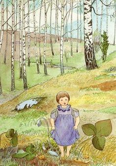 Elsa Beskow (née Maartman) February Stockholm – 30 June was a Swedish author and illustrator of children's books Elsa Beskow, Vintage Children's Books, Vintage Art, Poster Shop, Poster Online, Retro Kids, Book Images, Woodland Creatures, Children's Book Illustration