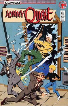Jonny Quest by Comico Comics Retro Cartoons, Classic Cartoons, Cool Cartoons, Hanna Barbera, Jonny Quest Cartoon, Race Bannon, Comic Book Artists, Comic Books, Dream Quest