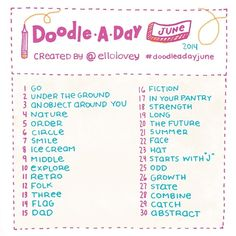 SnapWidget   Doodle a Day June is here friends! If you are looking for a creative challenge, feel free to draw along to this list! Simply use this list as your daily drawing inspiration and include the hashtag #doodleadayjune in your comment. Share the list on your feed or tag your friends to get them in on the challenge. A big pat on the back to those that completed May's list! Happy Doodling ✏ #doodleaday #junechallenge #list #challenge #doodle